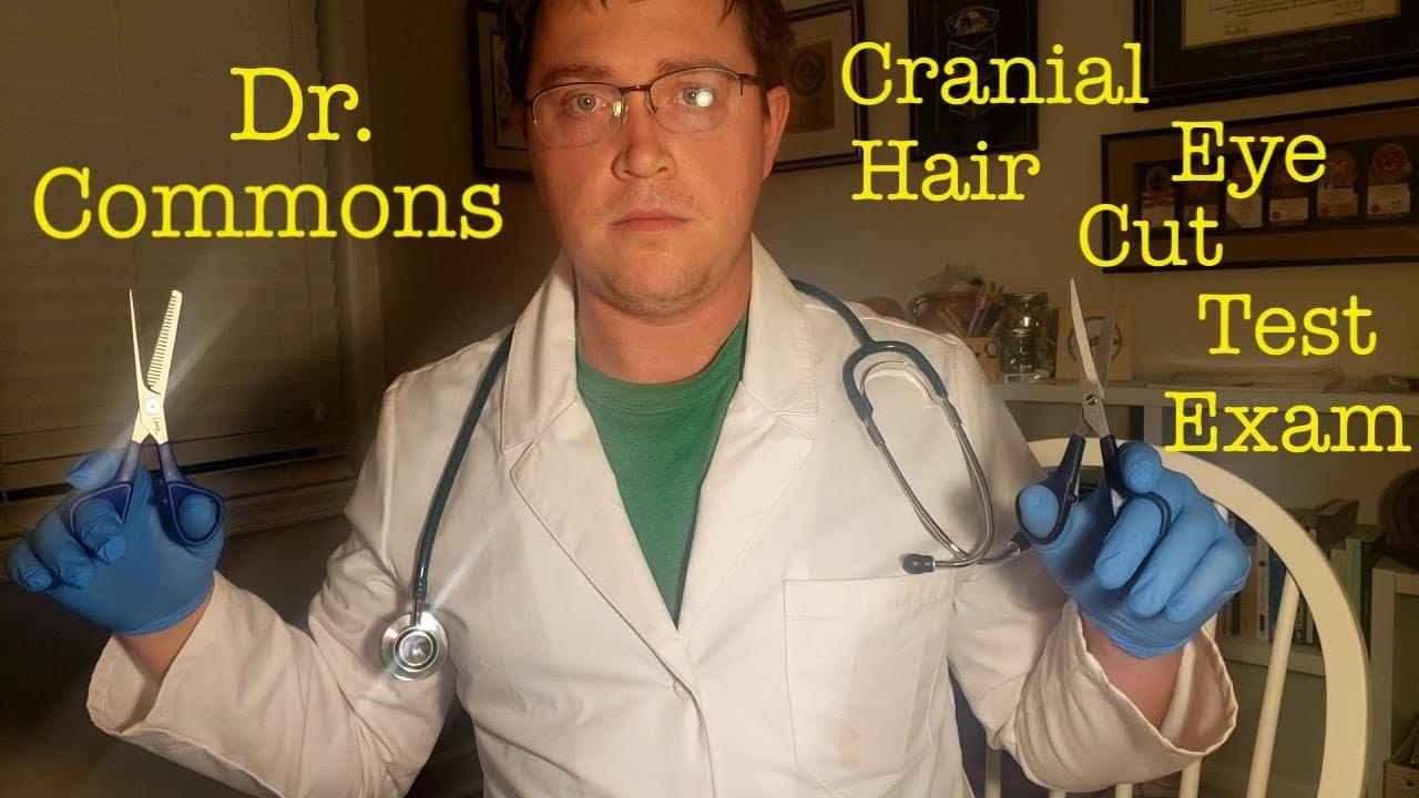 Cranial Hair Eye Cut Test Exam ASMR