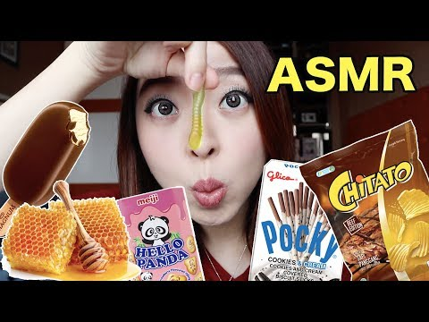 I TRIED ASMR | EATING HONEYCOMB, ICE CREAM, CANDY, AND SNACKS!! (CRUNCHY & CHEWY EATING SOUNDS)