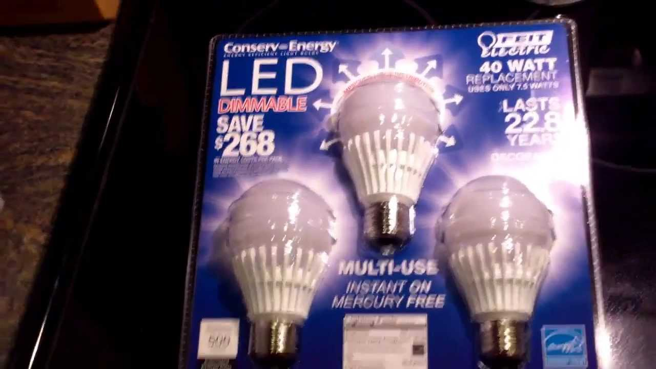 Feit Light Bulbs Review: REVIEW: FEIT Dimmable LED Light Bulbs 3 Pack 40W Replacement Uses 7.5W 500  Lumens,Lighting