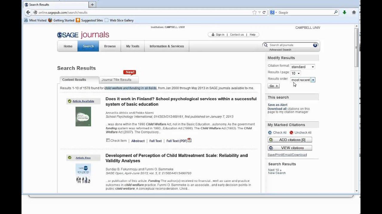 SAGE Journals Online Database Tutorial