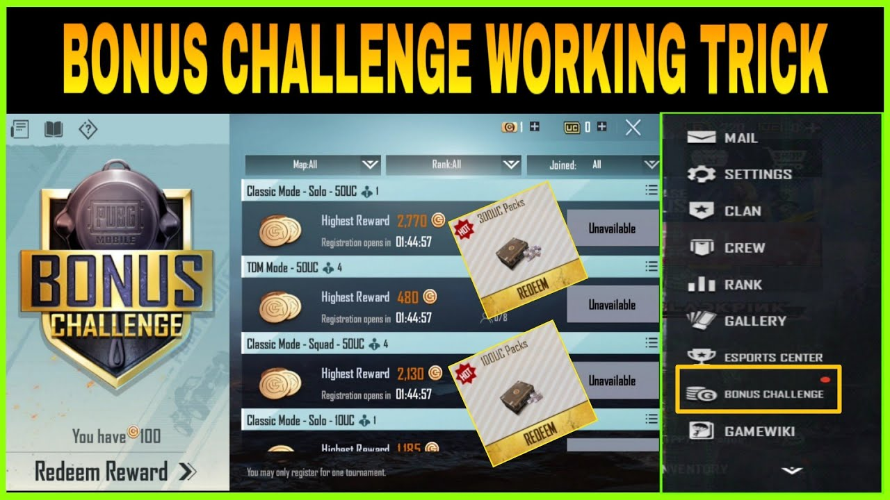 BONUS CHALLENGE WORKING TRICK IN PUBG MOBILE || HOW TO REDEEM BATTLE COINS FROM BONUS CHALLENGE ||