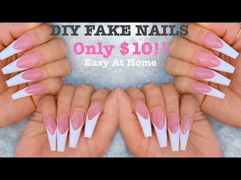 DIY ACRYLIC NAIL TUTORIAL AT HOME FOR BEGINNERS 💅   How To Do Fake Nails on YOURSELF + Coffin Shape thumbnail