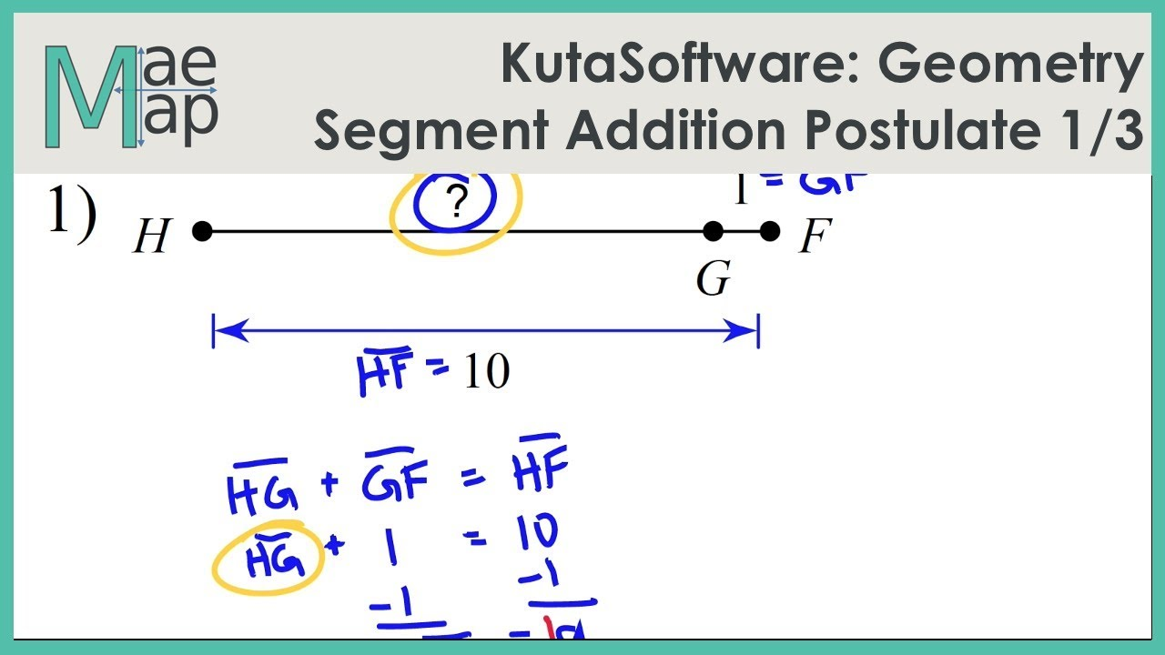 Kutasoftware Geometry Segment Addition Postulate Part 1 Youtube