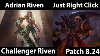 [ Adrian Riven ] Riven vs Tryndamere [ Just Right Click ] Top  - Multi Challenger grind Carry Tops