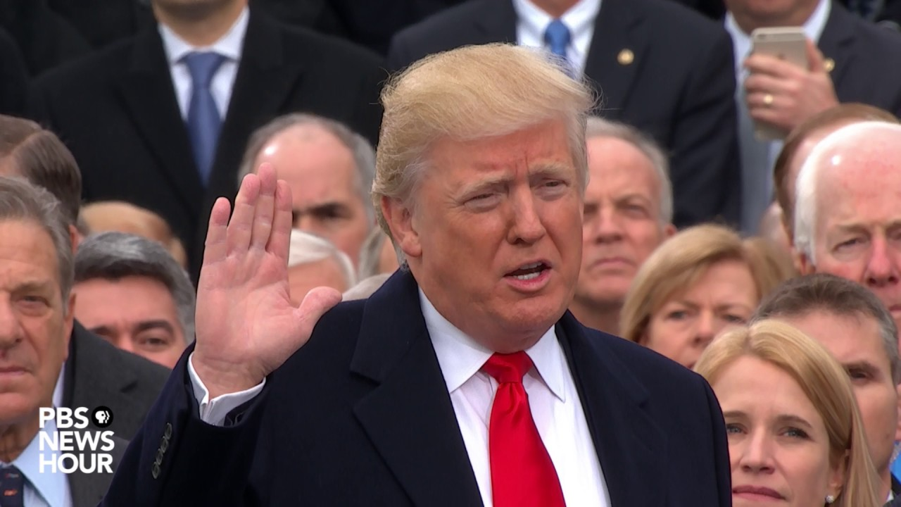 Image result for trump taking oath of office