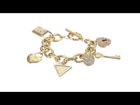 GUESS Lock, Key, Hearts Charm Bracelet  SKU:8518023