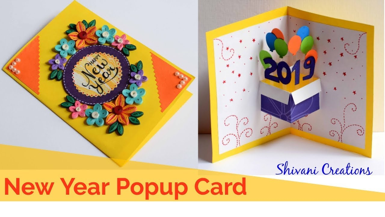 quilled new year popup card diy new year greeting card