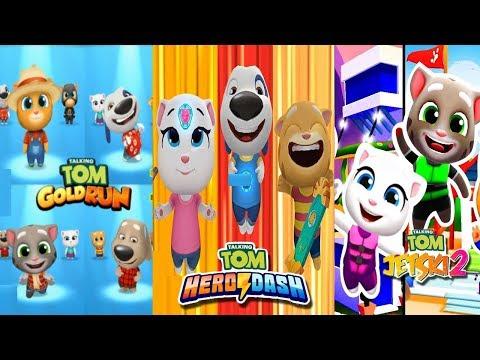 Talking Tom Hero Dash - Talking Tom Gold Run - Talking Tom Jetski 2 - Full walkthrough - Android