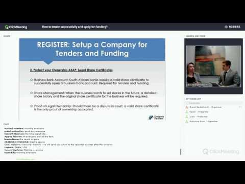 How to Tender Successfully and Apply for Funding in SA - Webinar Recording