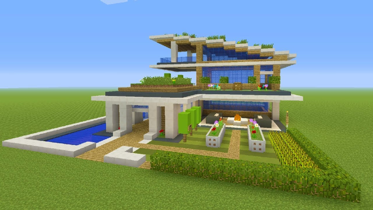 Minecraft Tutorial How To Make A Modern Eco Mansion