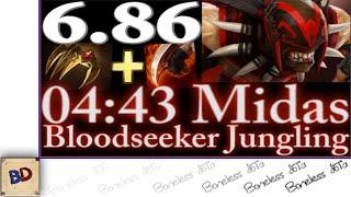 Dota 2 6.86   Bloodseeker Iron Talon Jungling 4 MINUTE MIDAS   Jungle Speedrun #5