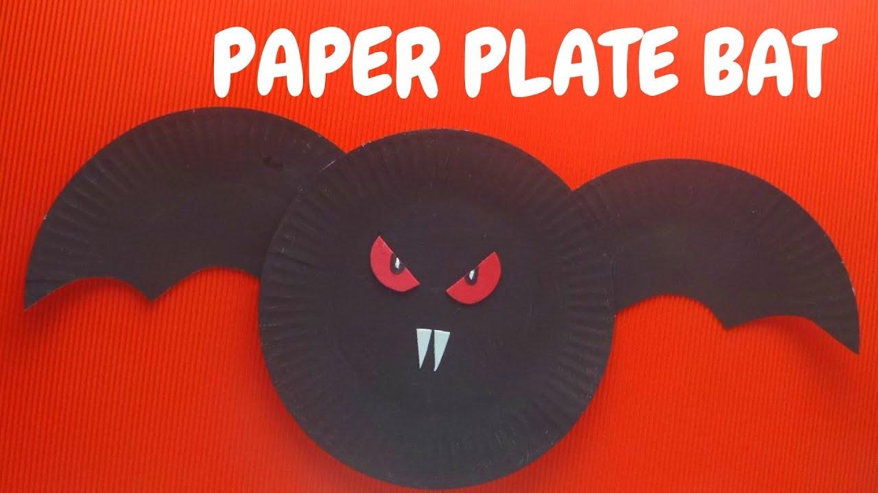 halloween craft paper plate bat paper plate crafts youtube - Youtube Halloween Crafts
