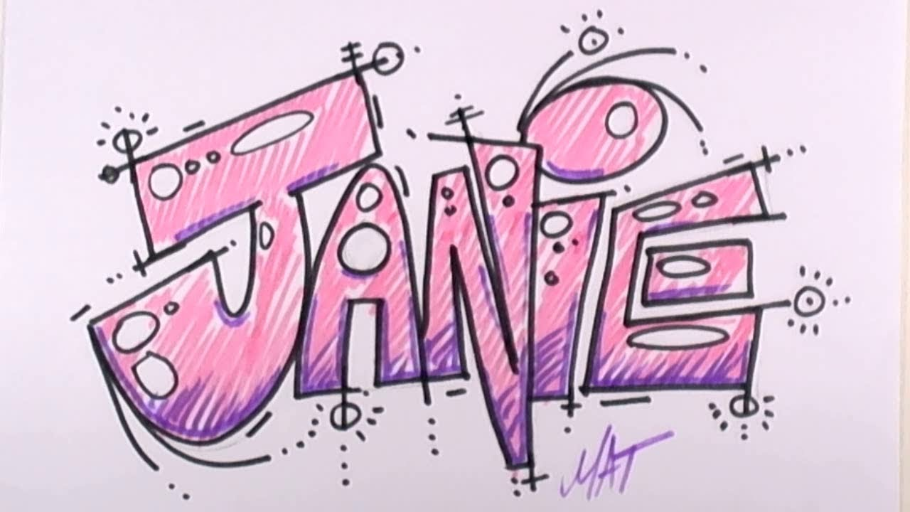 Graffiti Writing Janie Name Design 24 In 50 Names Promotion Mat