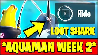 USE A FISHING POLE TO RIDE BEHIND A LOOT SHARK AT SWEATY SANDS (LOCATION) - Fortnite Aquaman Week 2