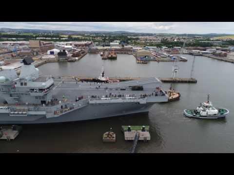 Drone footage shows HMS Queen Elizabeth depart Rosyth