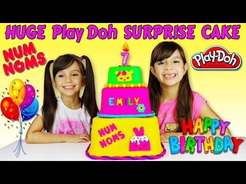 HUGE Play Doh NUM NOMS SURPRISE CAKE - Surprise Toys Birthday Cake Opening