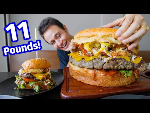 Supersize BURGER!! 🍔 Eating an 11 Pound GIANT BEEF Cheeseburger!!