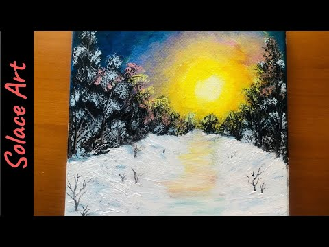 Winter Landscape Painting | Winter Scene Acrylic Painting | Snow Painting