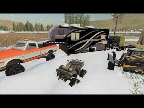 Snow storm hits and we need to save animals   Camping and mudding   Farming Simulator 19  