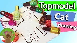 Kolorowanki Topmodel | słodki kotek | kolorowanie lakierem do paznokci