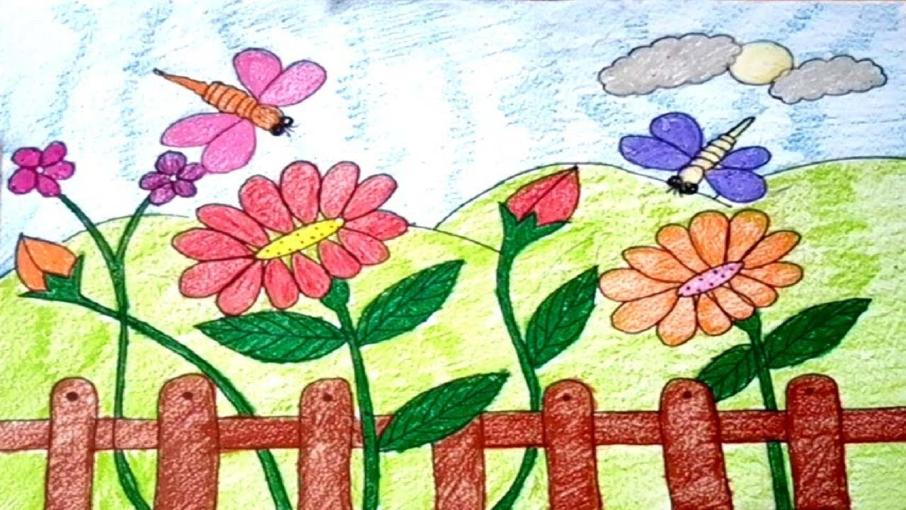 Easy And Simple Flower Garden Drawing For Kids Youtube