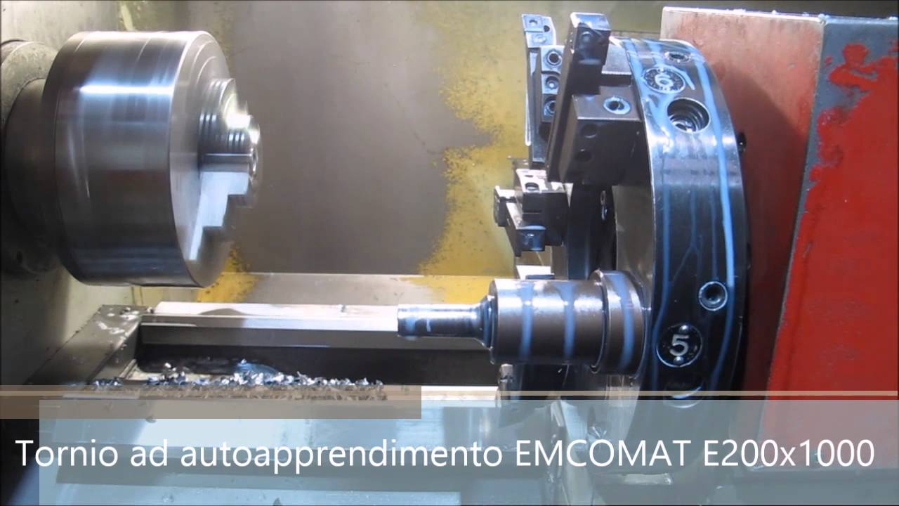 Tornio cnc ad autoapprendimento emcomat e 200x1000 youtube for Youtube tornio