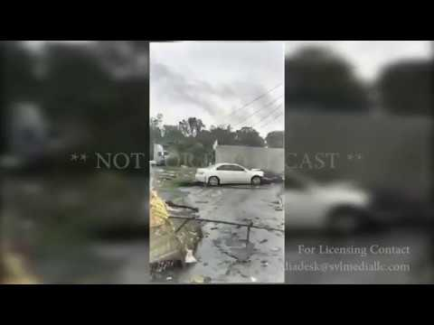 Spartanburg, SC Trucker Flipped and damage all around from Tornado 10-23-2017