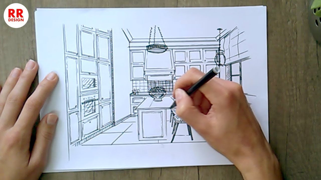 How To Draw A Modern Kitchen 15 M2 Sketch Design Ideas Youtube