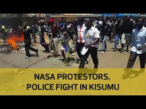 Nasa protestors, police fight in Kisumu