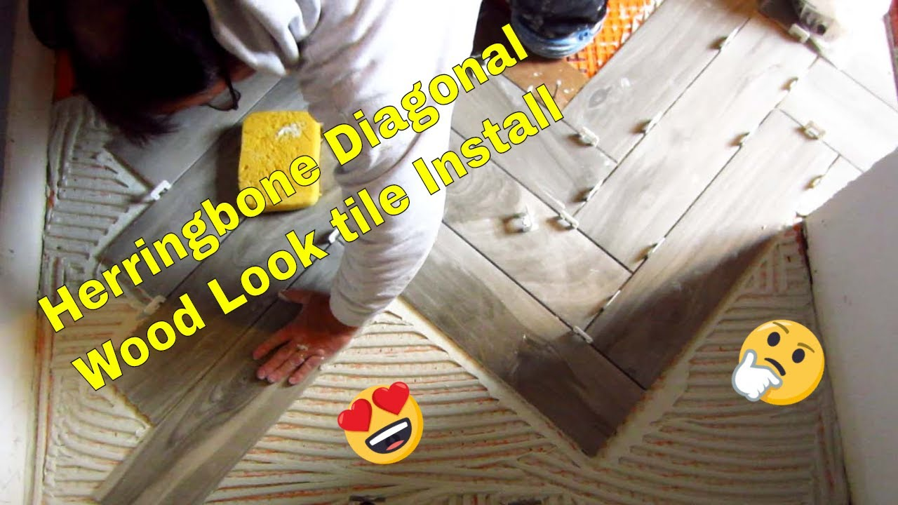 How to lay tiles diagonally - How To Install Diagonal Herringbone Wood Look Plank Porcelain On Ditra With T Lock Youtube