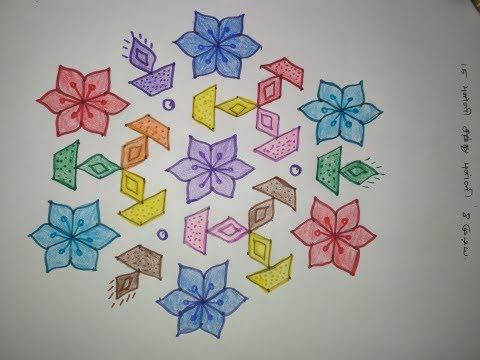 15 to 8 Santhu Pulli Kolam - 15 Pulli Kolam with dots