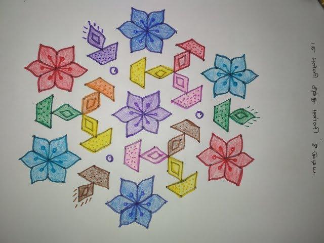 15 to 8 Santhu Pulli Kolam - 15 Pulli Kolam with dots - Diwali Kolam With Dots