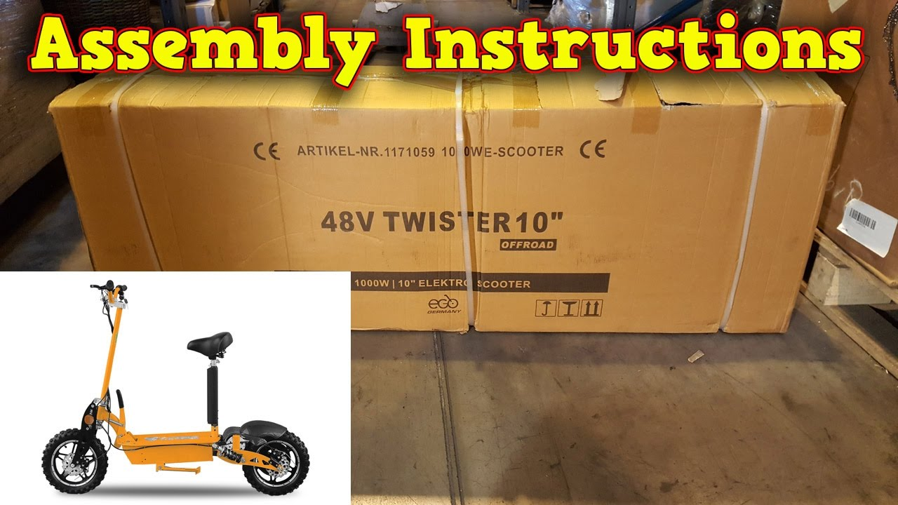 Electric Scooter 1000w 48v Unboxing Full Assembly Instructions Basic Bike Wiring Schematic Mini Bikes Store
