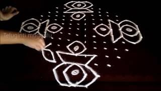 Easy rangoli kolam designs with15-3-3 straight | chukkala muggulu with dots| rangoli design
