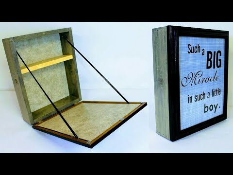 Diy Wall Folding Table Hidden Storage Box Picture Frame Youtube