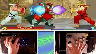 1 Player, 2 Controllers! KEN & RYU vs M.BISON! (Street Fighter Alpha)
