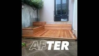 Blackbutt decking with bench seating