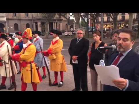 Acte d'Estat de Demòcrates amb la Coronela de Barcelona en homenatge als caiguts el 1714