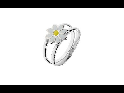 Jewellery – Silver ring 925 - double hoops with ox-eye-daisy, adjustable