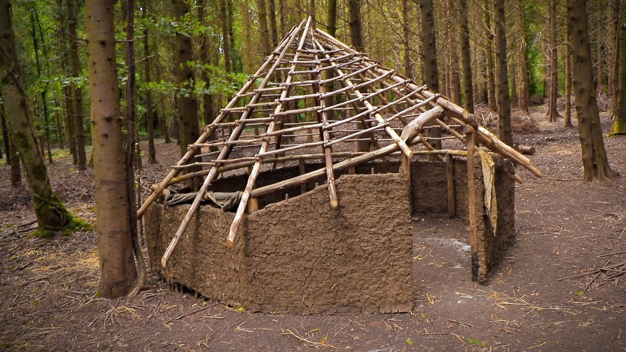 Building an Iron Age House by Hand: Celtic Roundhouse | Bushcraft Camp (PART 7)