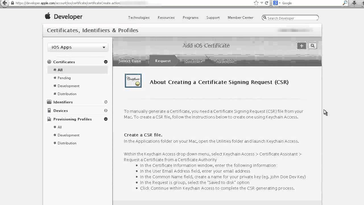 Apple Ios Distribution Certificate Setup Youtube
