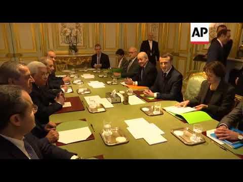 Macron, Abbas hold meeting at Elysee Palace