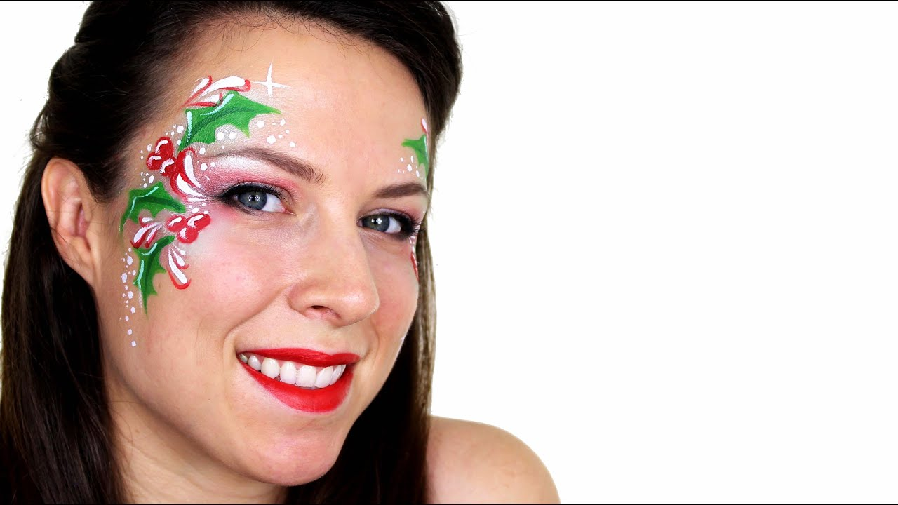Christmas Face Paint.Christmas Holly Face Painting