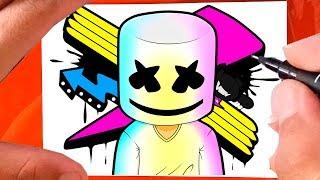 COMO Desenhar DJ MARSHMELLO | Como Dibujar a Marshmello | How to Draw Marshmallow Video