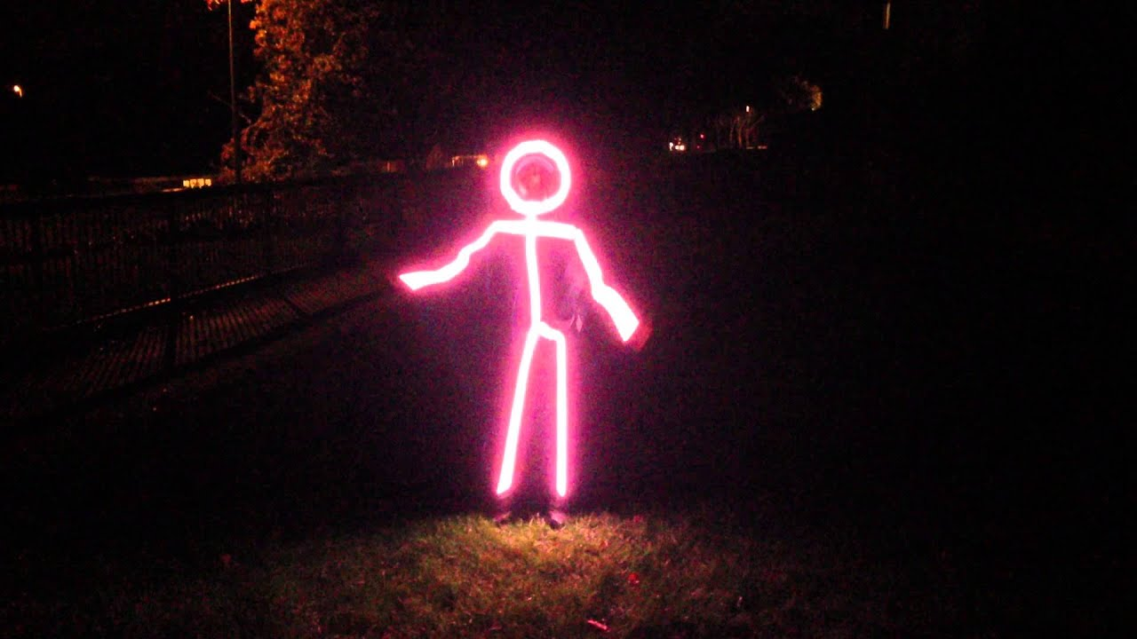 colour led stickman for the haverhill halloween trail first test youtube - Halloween Led Costume