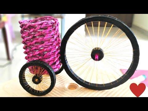 DIY newspaper cycle  || Newspaper cycle pen stand| || Waste material Craft || IRIS Craft Corner  37