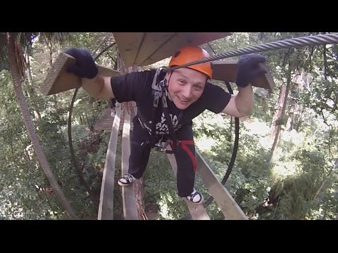 Ziplining Flying Fox High Ropes Course Trees Adventure Melbourne 2015 GoPro HD
