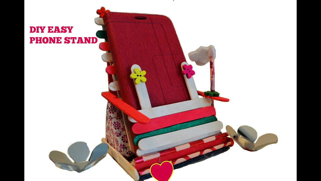 Diy Crafts Phone Stand Holder Using Popsicle Sticks Cardboard Washi Tape Easy Project