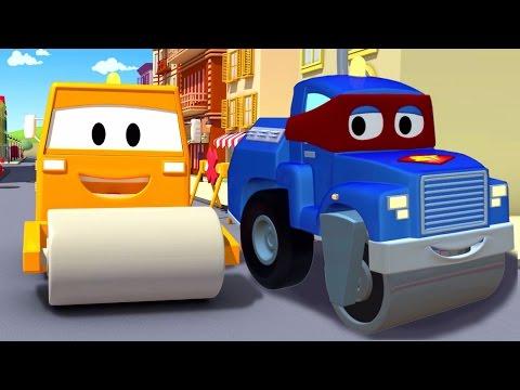 Трансформер Карл и паровой каток в Автомобильном Городе  Мультик про грузовички