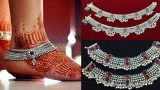 new style silver Payal for bridal wear/real silver Payal design for newly married women